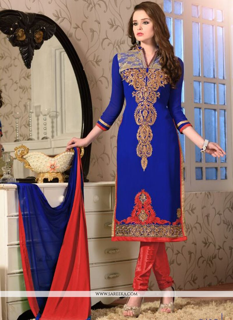 Georgette Embroidered Work Churidar Salwar Suit