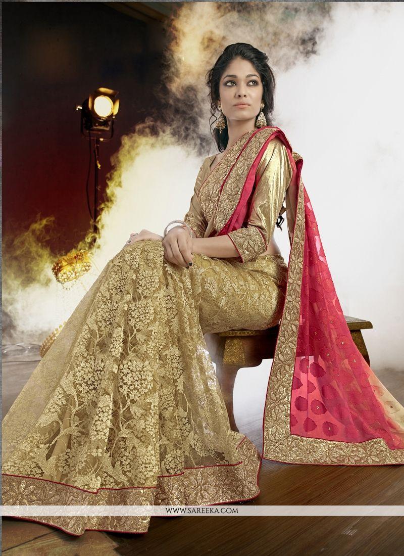 Net Beige Designer Saree