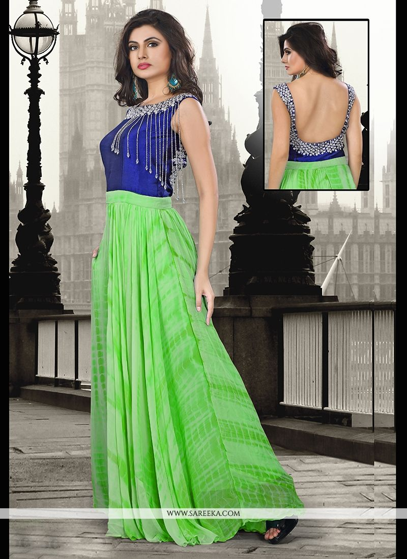 Sea Green Pure Georgette Floor Length Gown