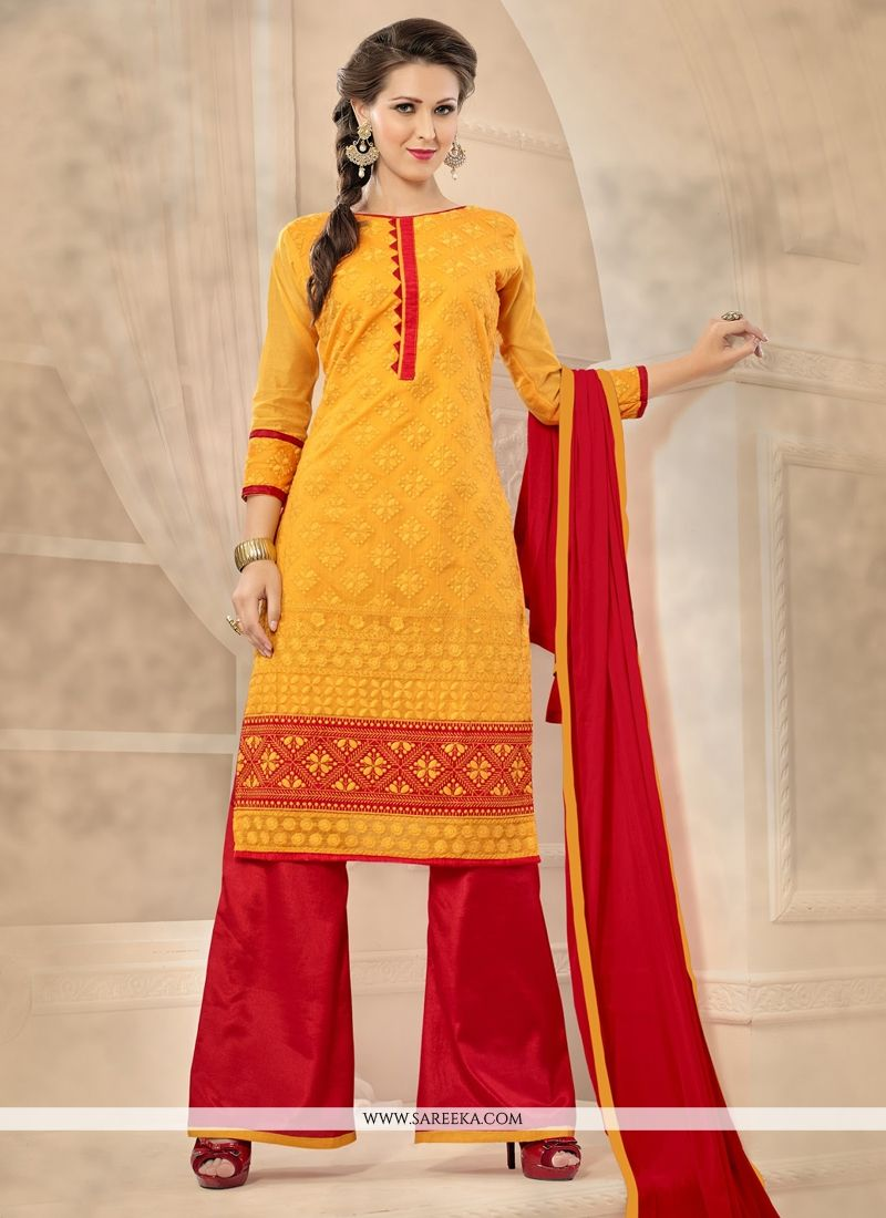 Red and Yellow Chanderi Designer Palazzo Salwar Kameez