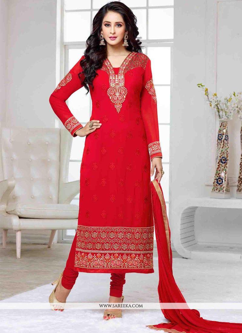 Red Churidar Designer Suit