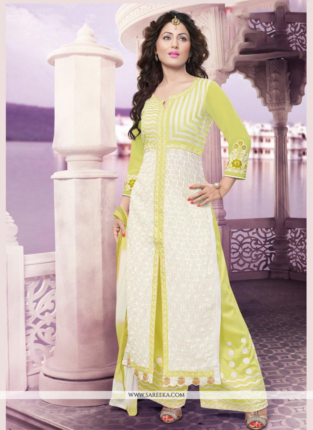 Resham Work Green and White Georgette Designer Palazzo Suit