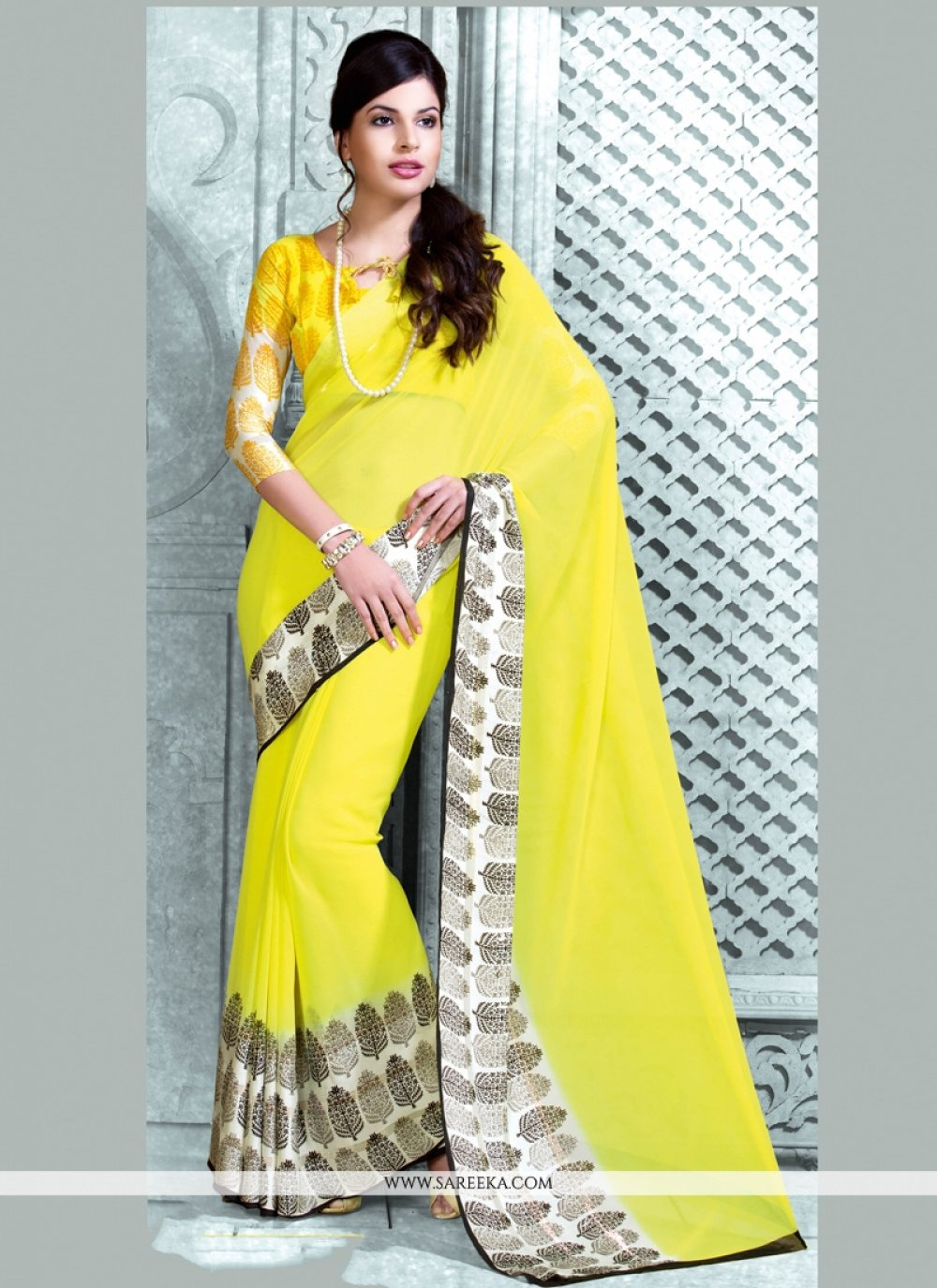 Yellow Print Work Georgette Casual Saree