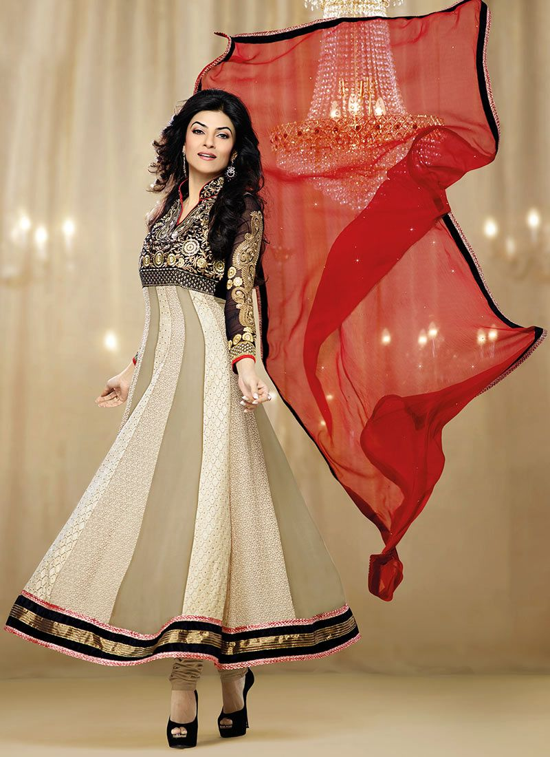 Sushmita Sen Brown Georgette Anarkali Suit