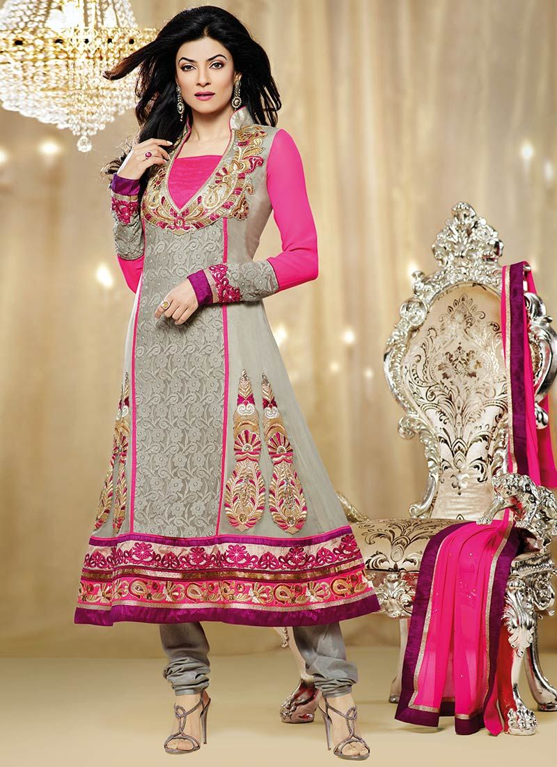 Sushmita Sen Grey And Pink Georgette Churidar Suit