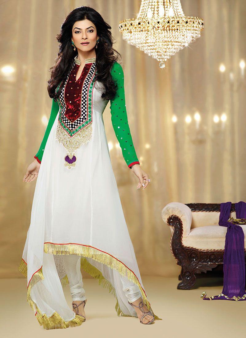 Sushmita Sen Off White Embroidered Georgette Churidar Suit