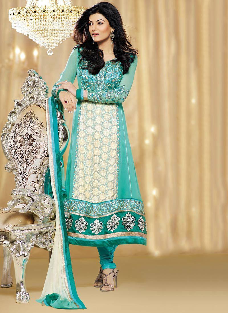 Sushmita Sen Turquoise Blue Georgette Churidar Suit