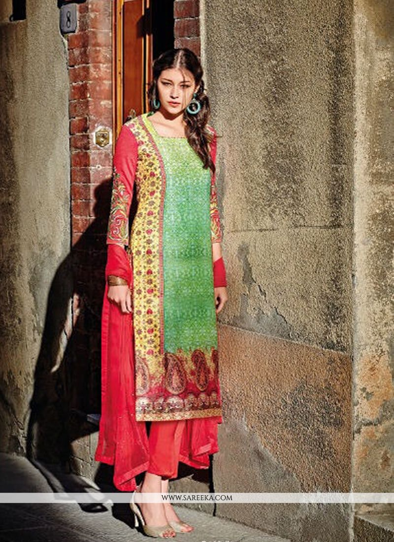 Chanderi Multi Colour Designer Straight Suit
