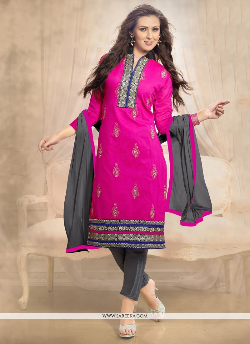 Lace Work Pink Churidar Designer Suit
