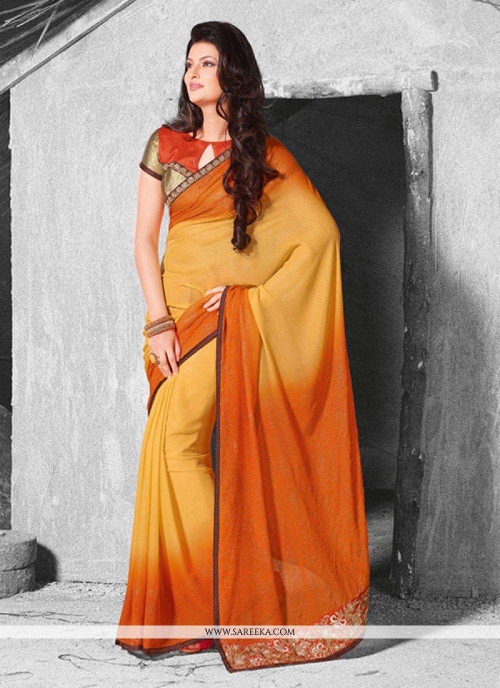 Orange and Yellow Georgette Designer Saree