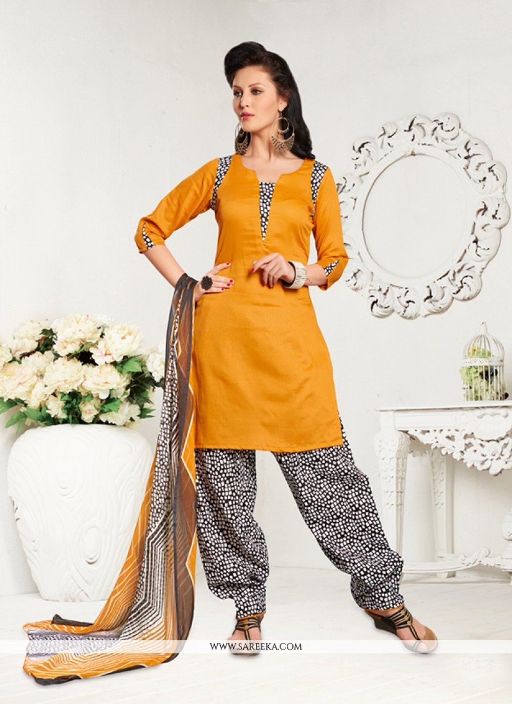 Print Work Cotton Satin Yellow Designer Patiala Salwar Kameez