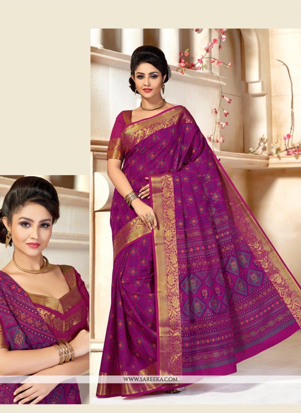 Purple Lace Work Casual Saree