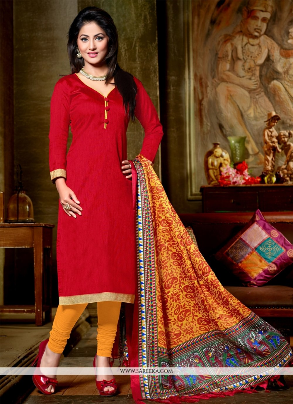 Red Lace Work Banglori Silk Churidar Designer Suit
