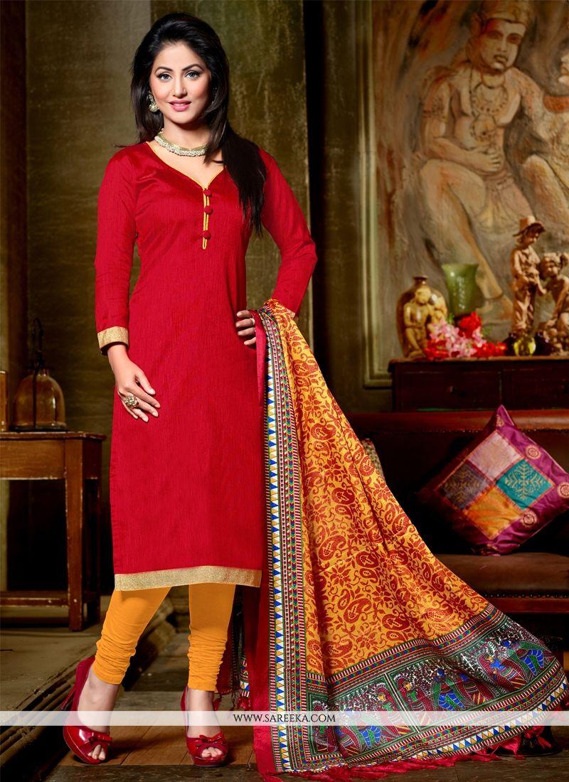 Red Lace Work Banglori Silk Churidar Designer Suit