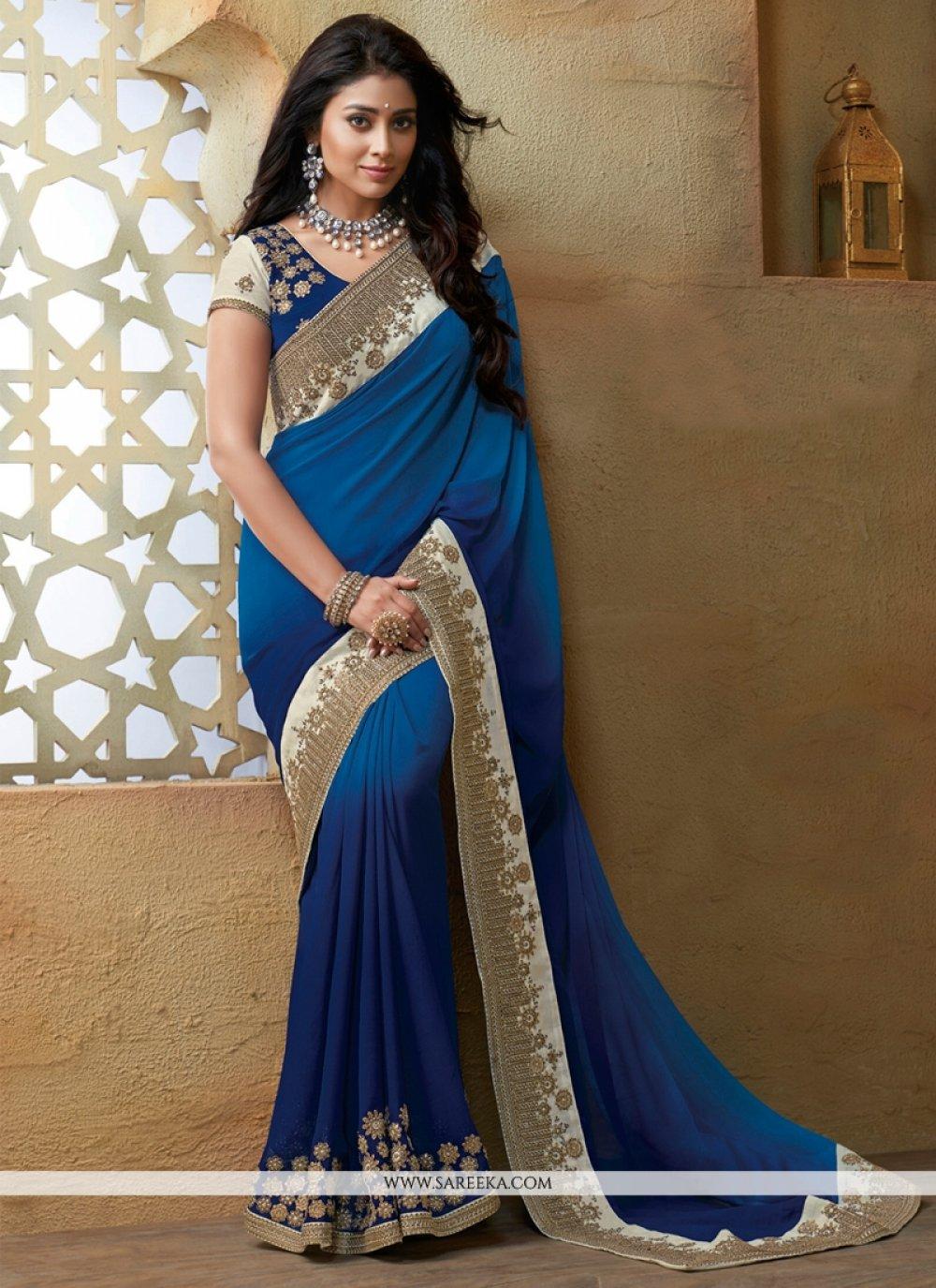 Talismanic Blue Zari Work Georgette Designer Saree