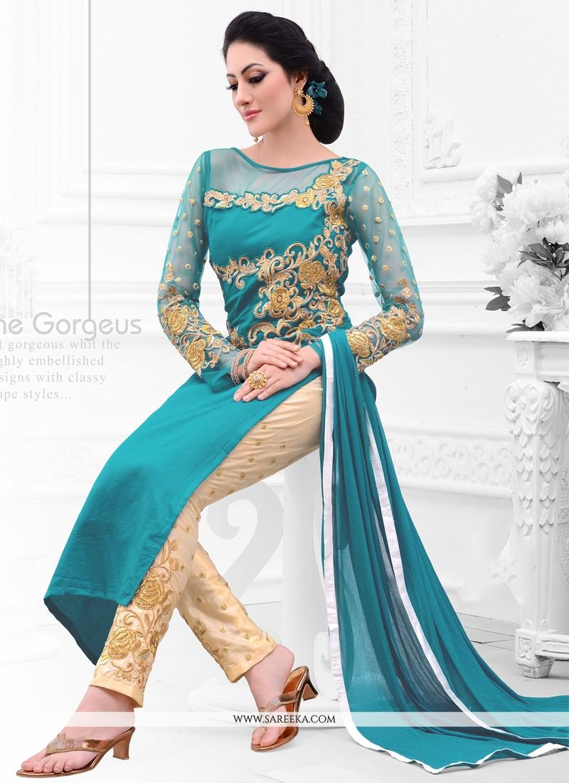 Talismanic Cotton Satin Teal Salwar Suit