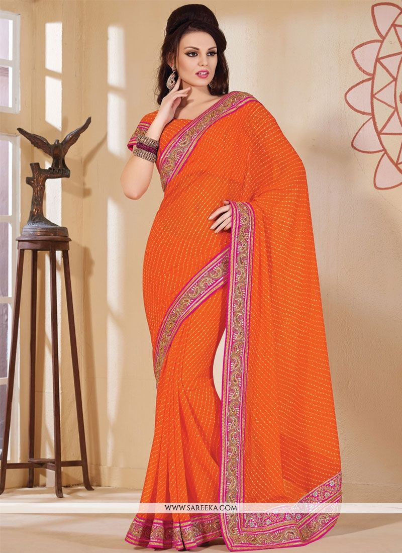 Talismanic Orange Georgette Designer Saree