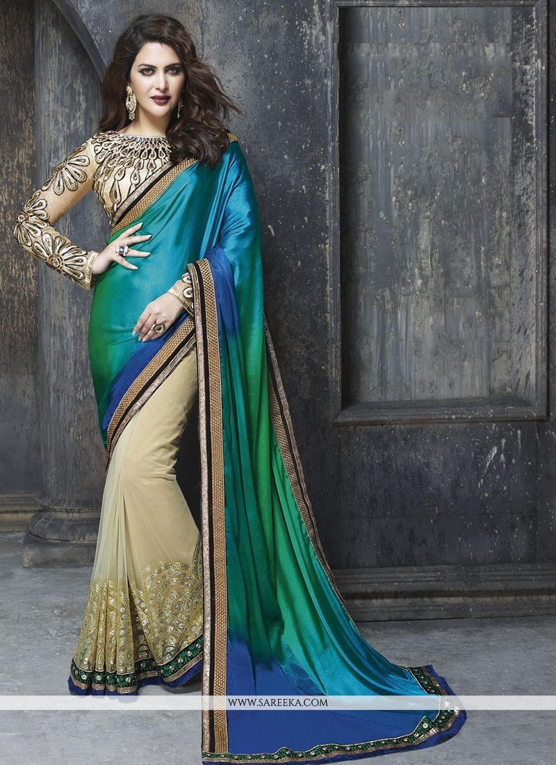 Talismanic Satin Patch Border Work Designer Saree