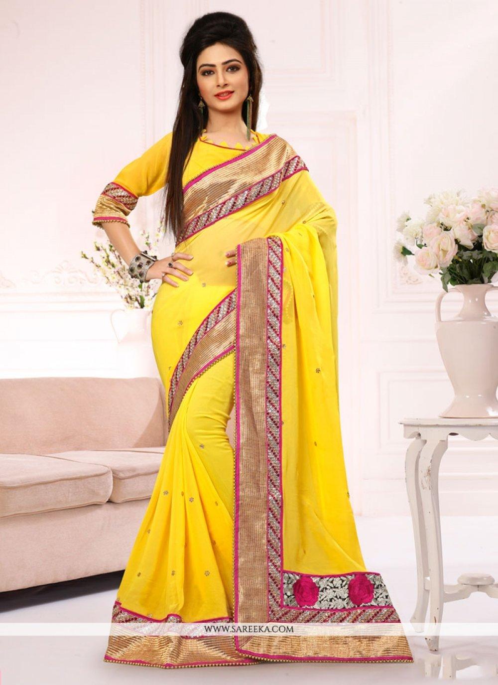 Talismanic Viscose Yellow Embroidered Work Designer Saree