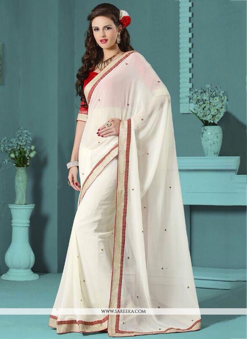 Talismanic White Embroidered Work Faux Chiffon Casual Saree