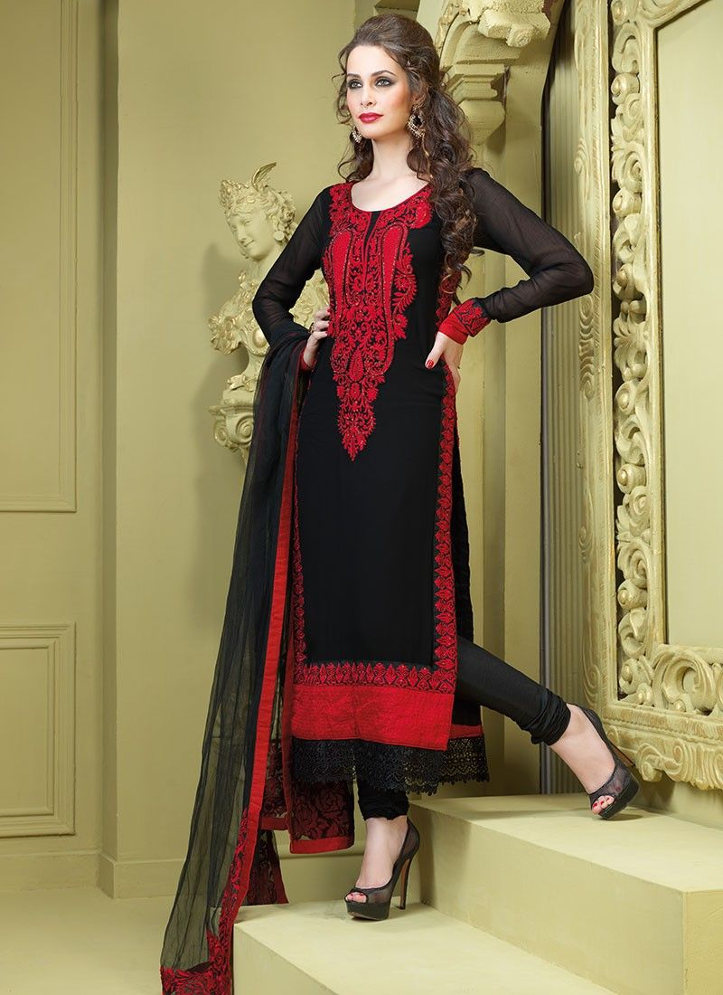 Bick Red & Black Salwar Kameez