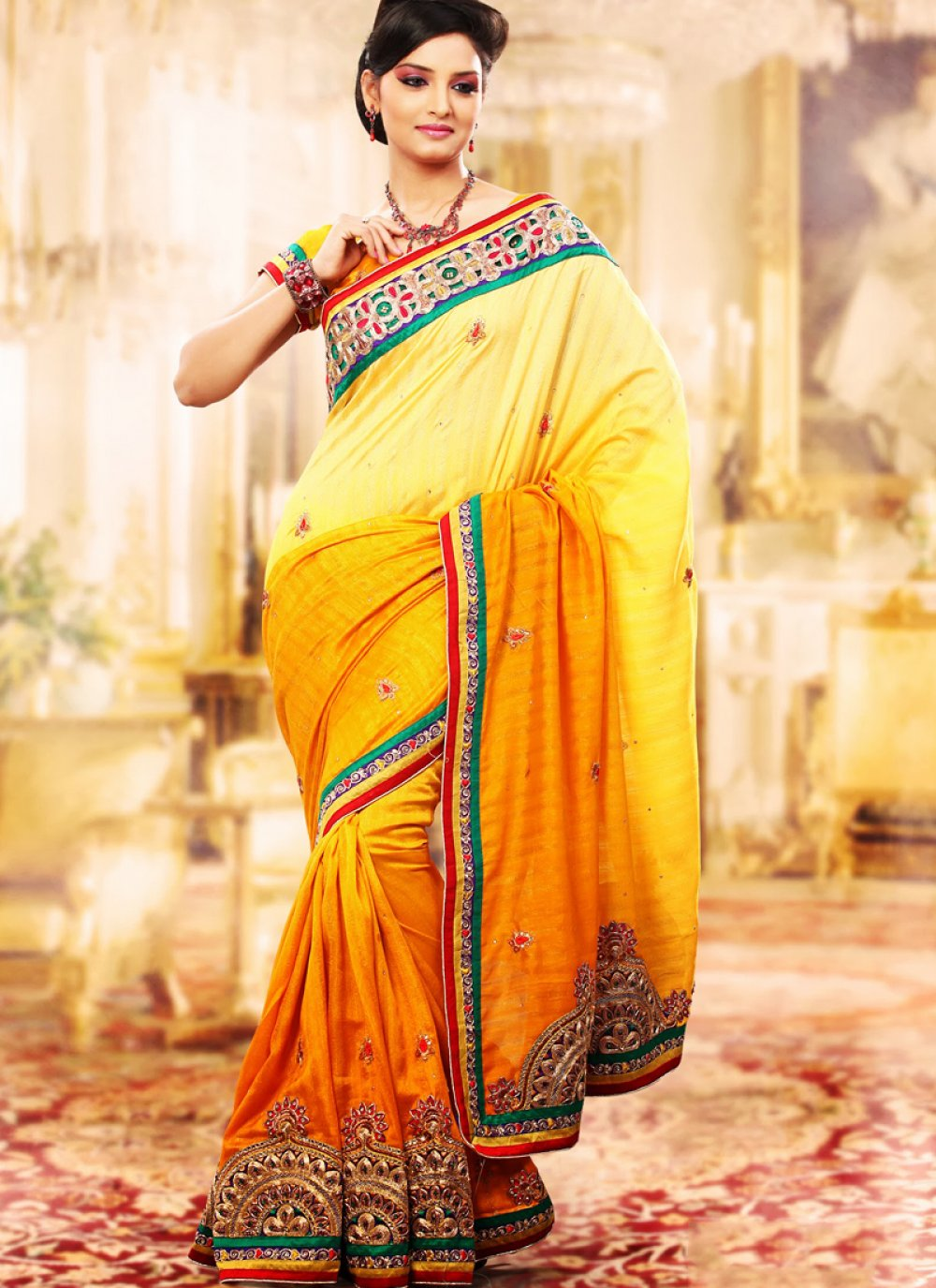Bige Brown & Gold Color Embroidered Saree