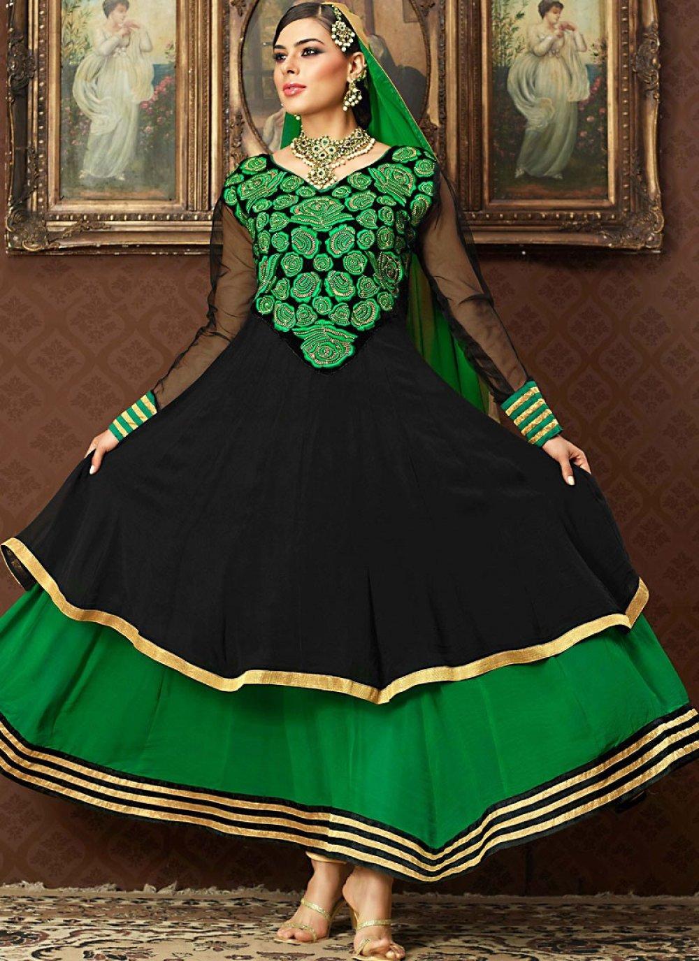 Black & Bottle Green Anarkali Suit