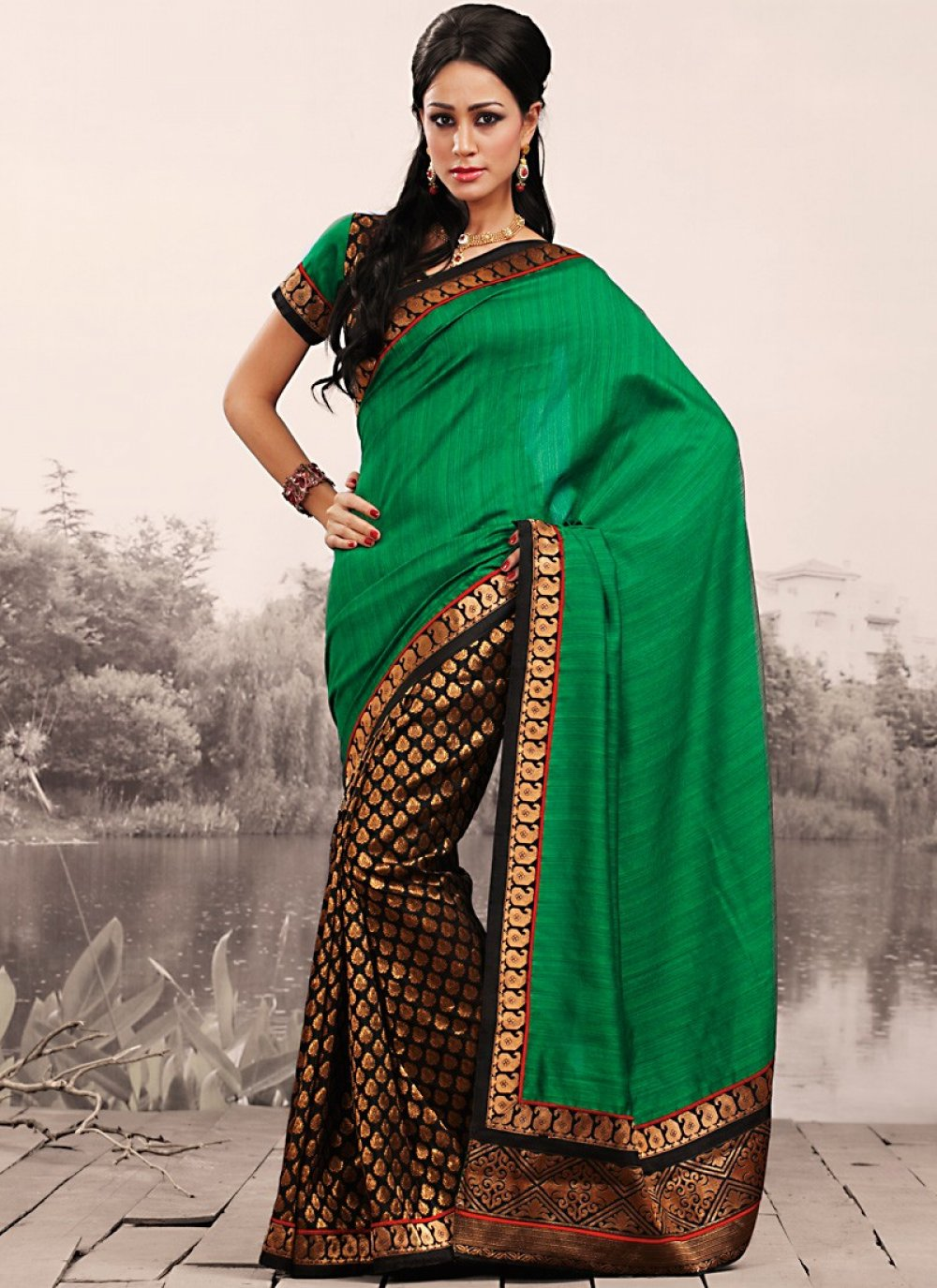 Brown & Emerald Green Embroidered Saree
