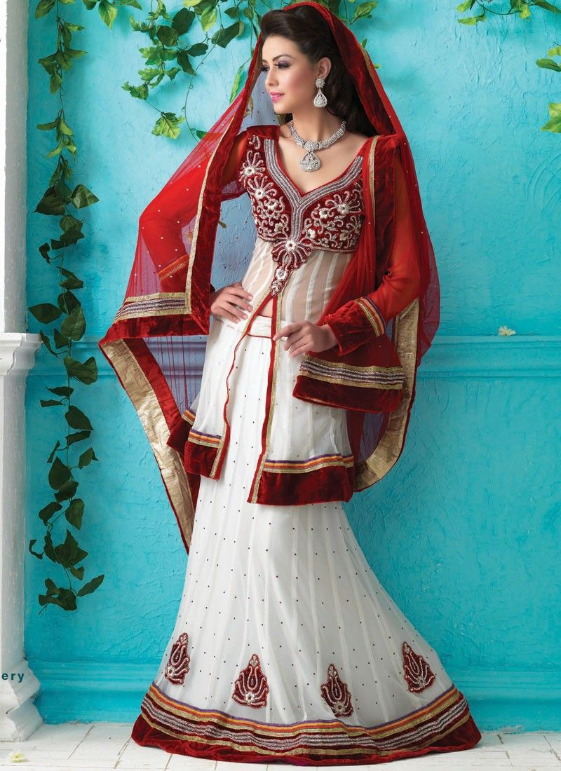 Burgundy & White Lehenga Choli