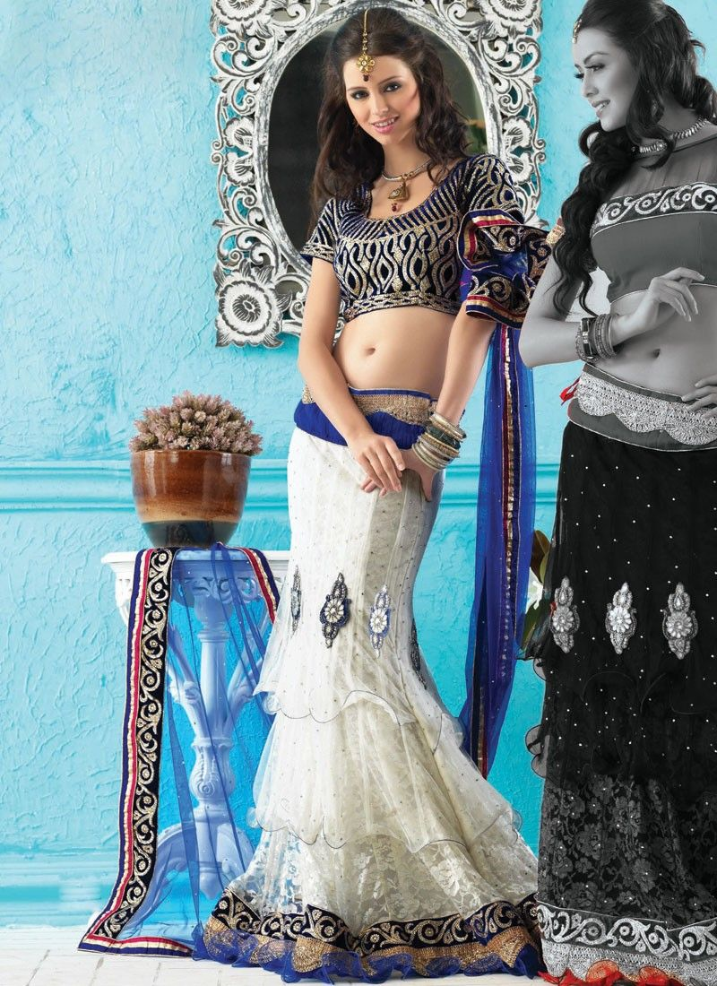 Deep Blue & White Lehenga Choli