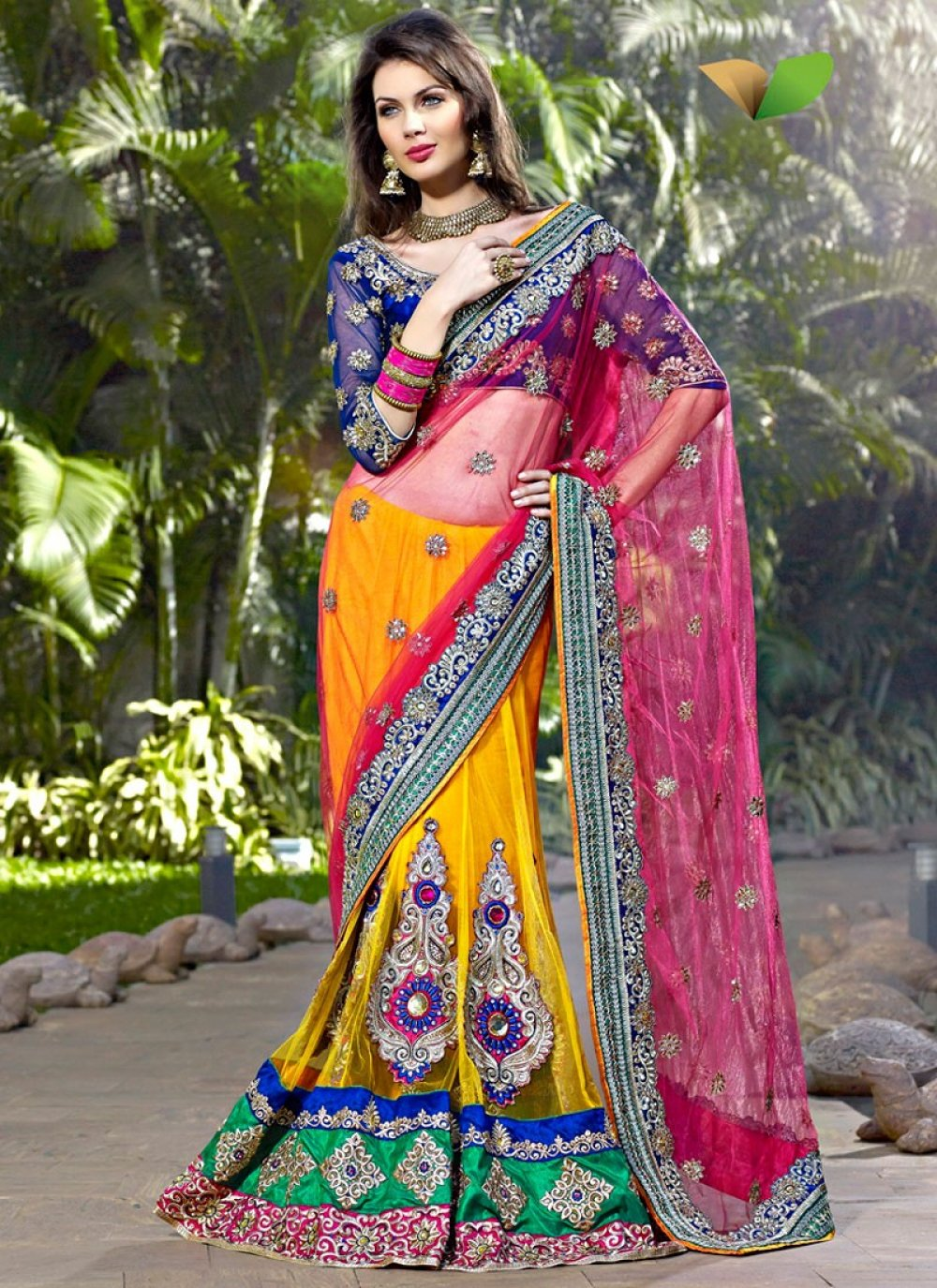 Deep Pink, Emerald Green & Gold Color Embroidered Saree