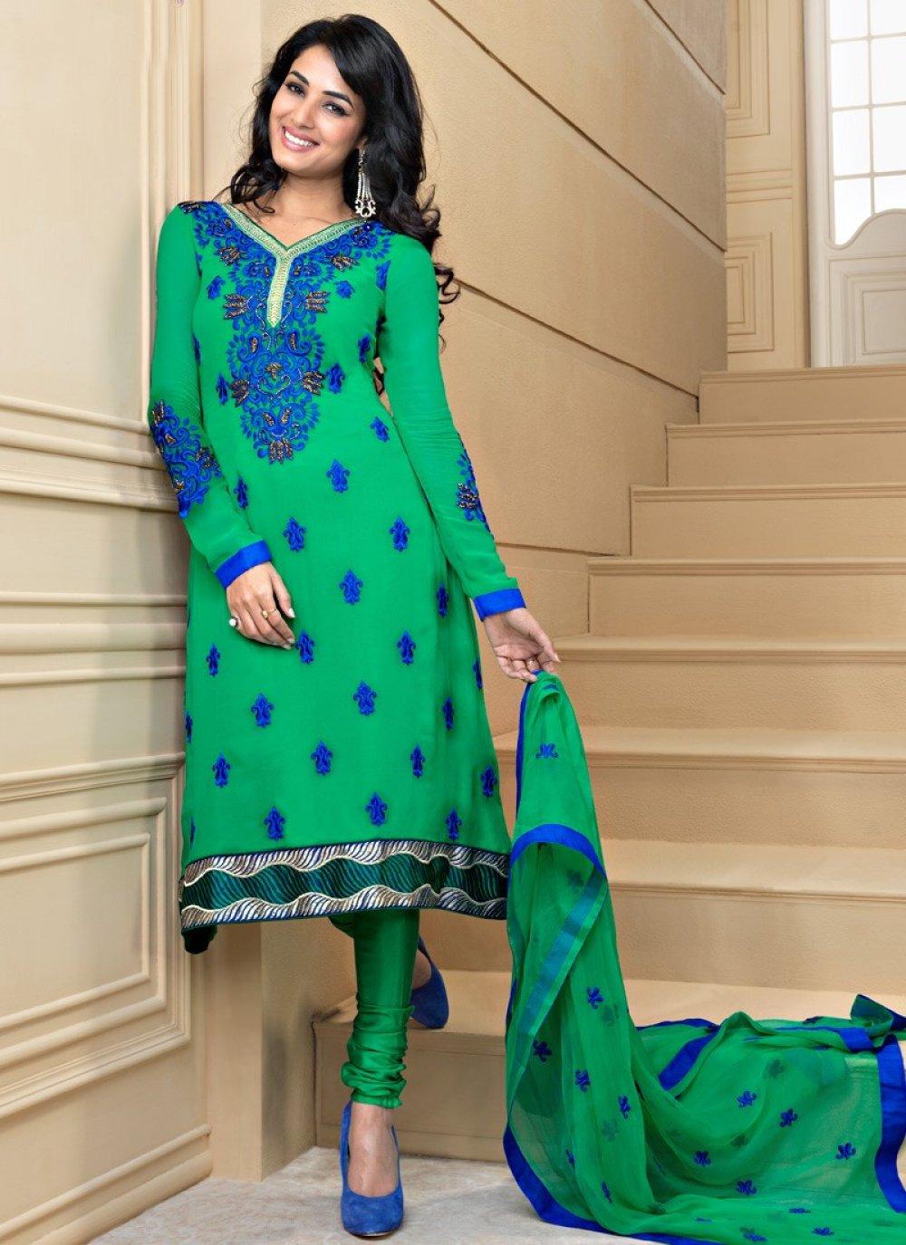 Emerald Green & Nvy Blue Salwar Kameez