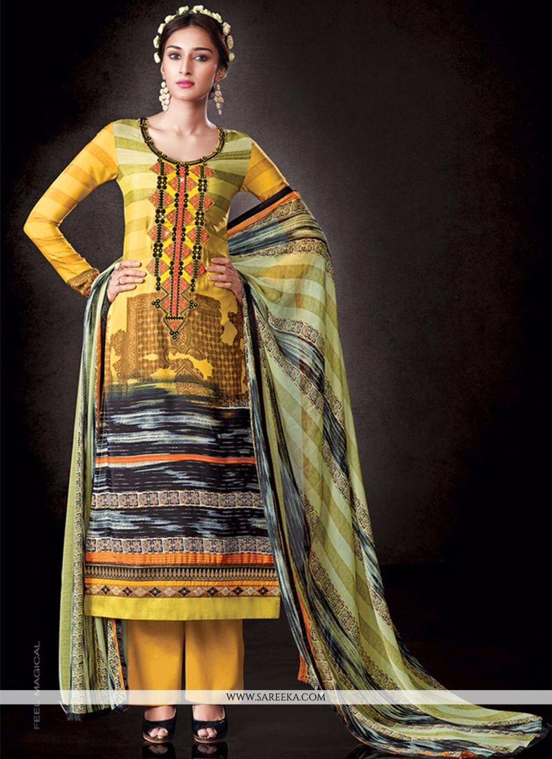 Faux Crepe Print Work Designer Pakistani Suit