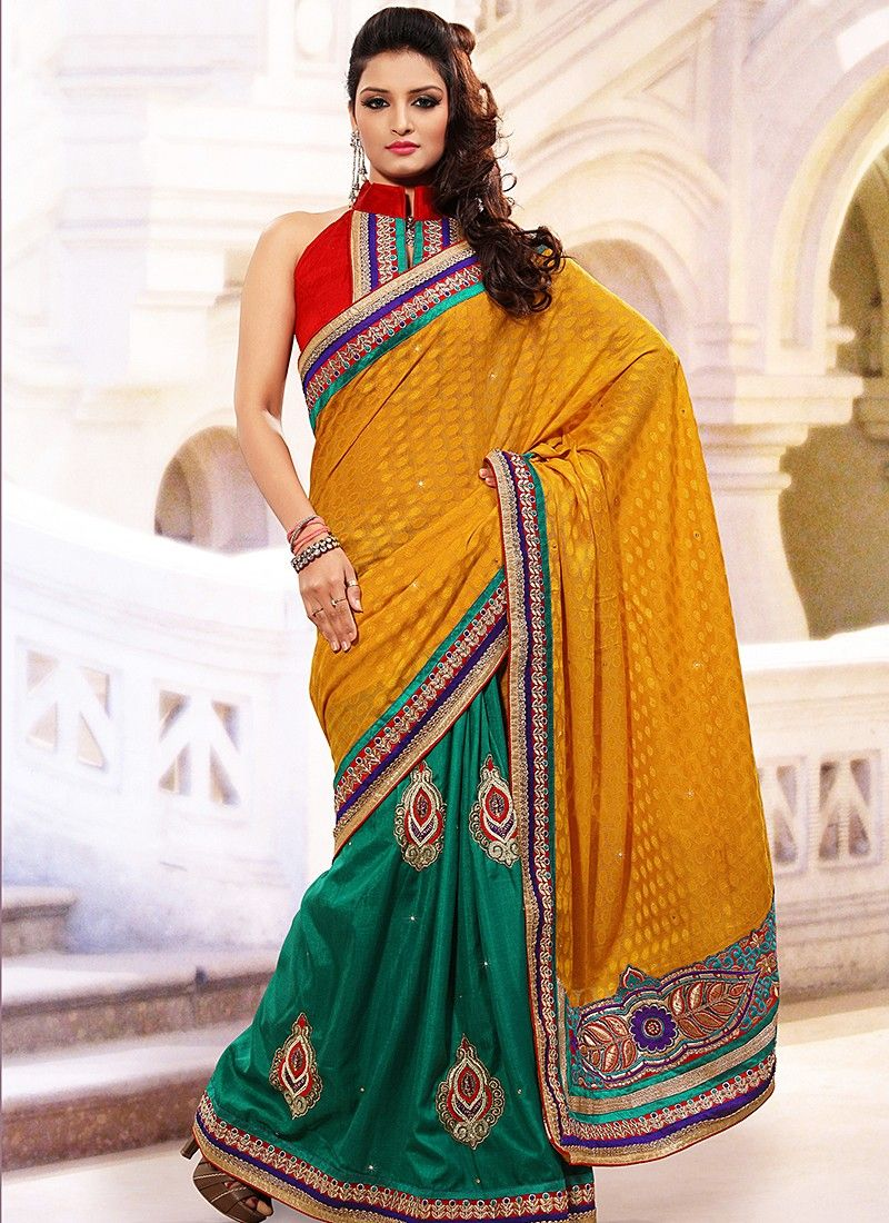 Mustard Net Half And Half Saree