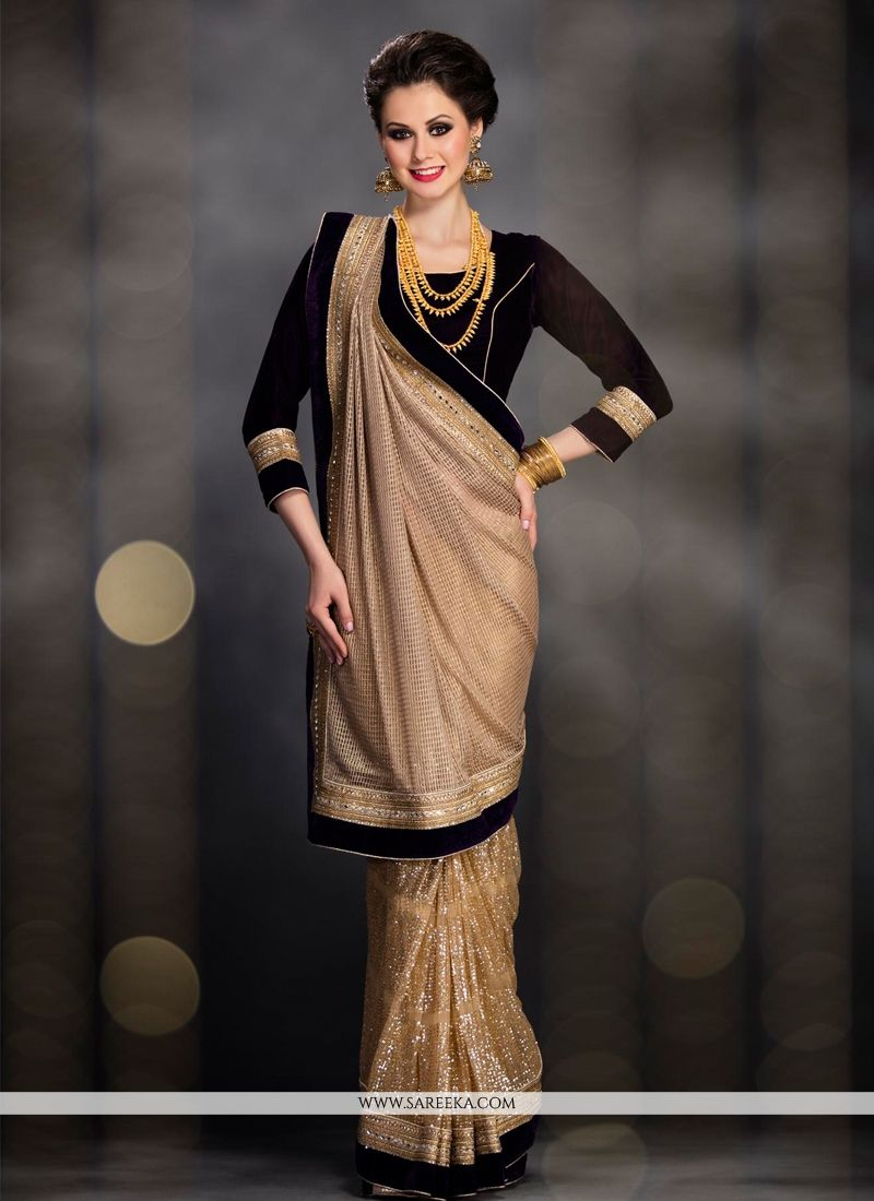 Net Beige Lace Work Designer Saree
