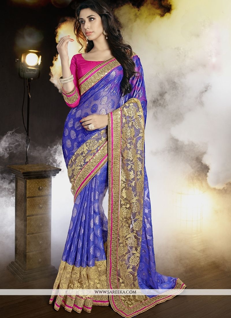 Patch Border Work Blue Classic Saree