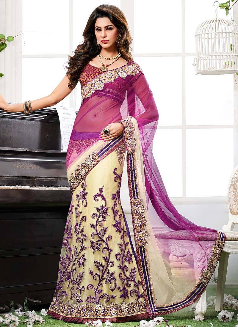 Purple And Cream Net Lehenga Saree