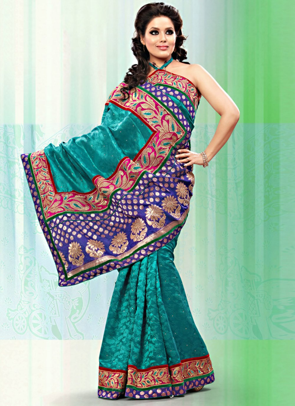 Teal Blue Art Bhagalpuri Jacquard Silk Saree