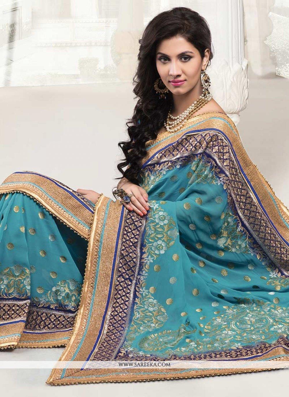 Teal Embroidered Work Banarasi Silk Designer Saree
