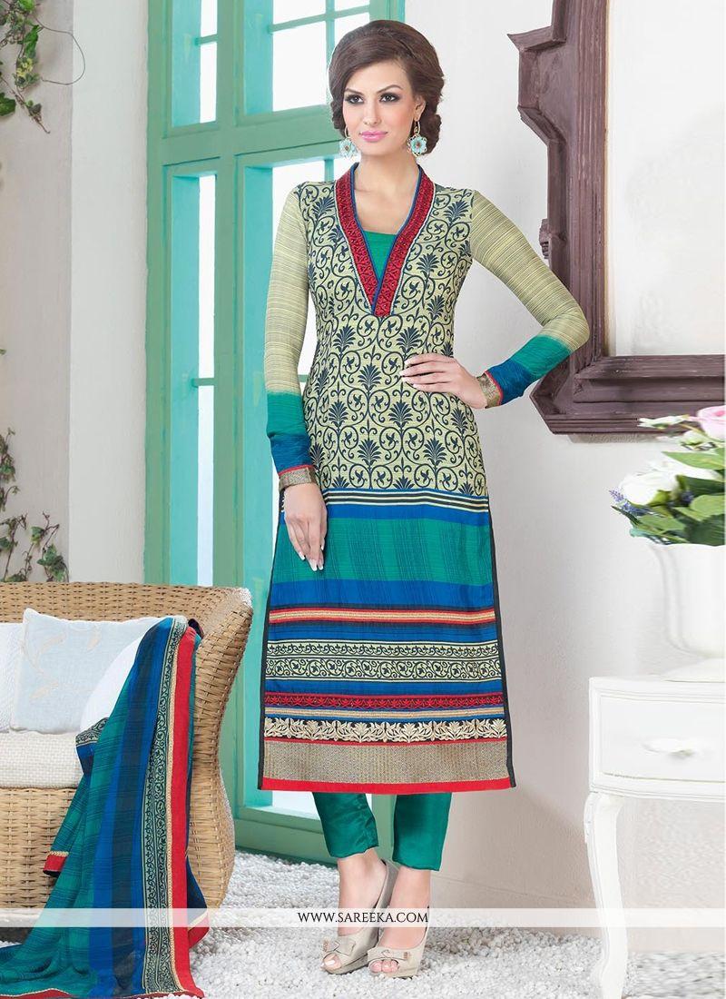 Teal Green And Cream Crepe Silk Salwar Suit