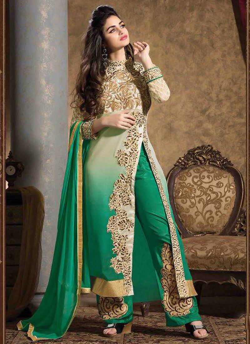 Teal Green And Cream Shaded Georgette Salwar Suit