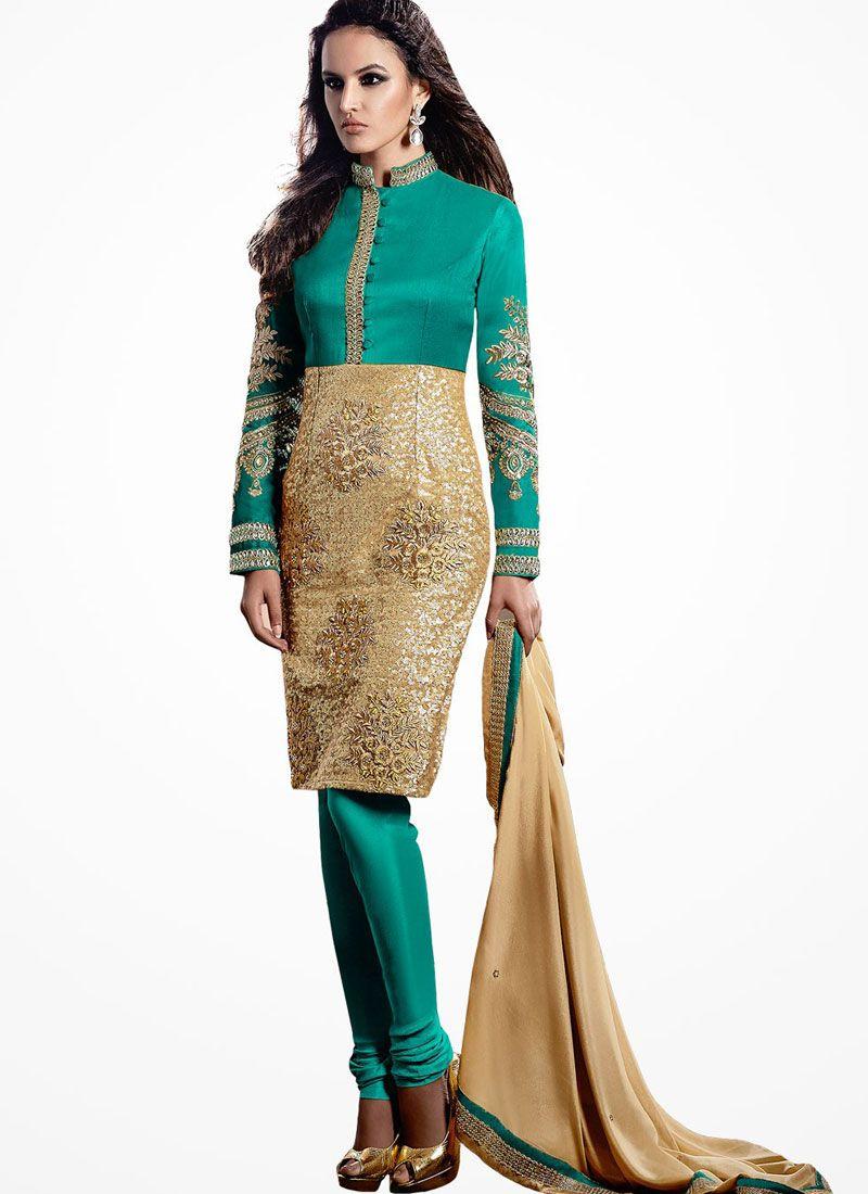 Green Bhagalpuri Silk Churidar Salwar Suit