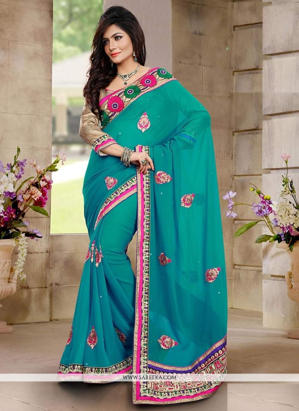 Teal Green Georgette Party Wear Saree