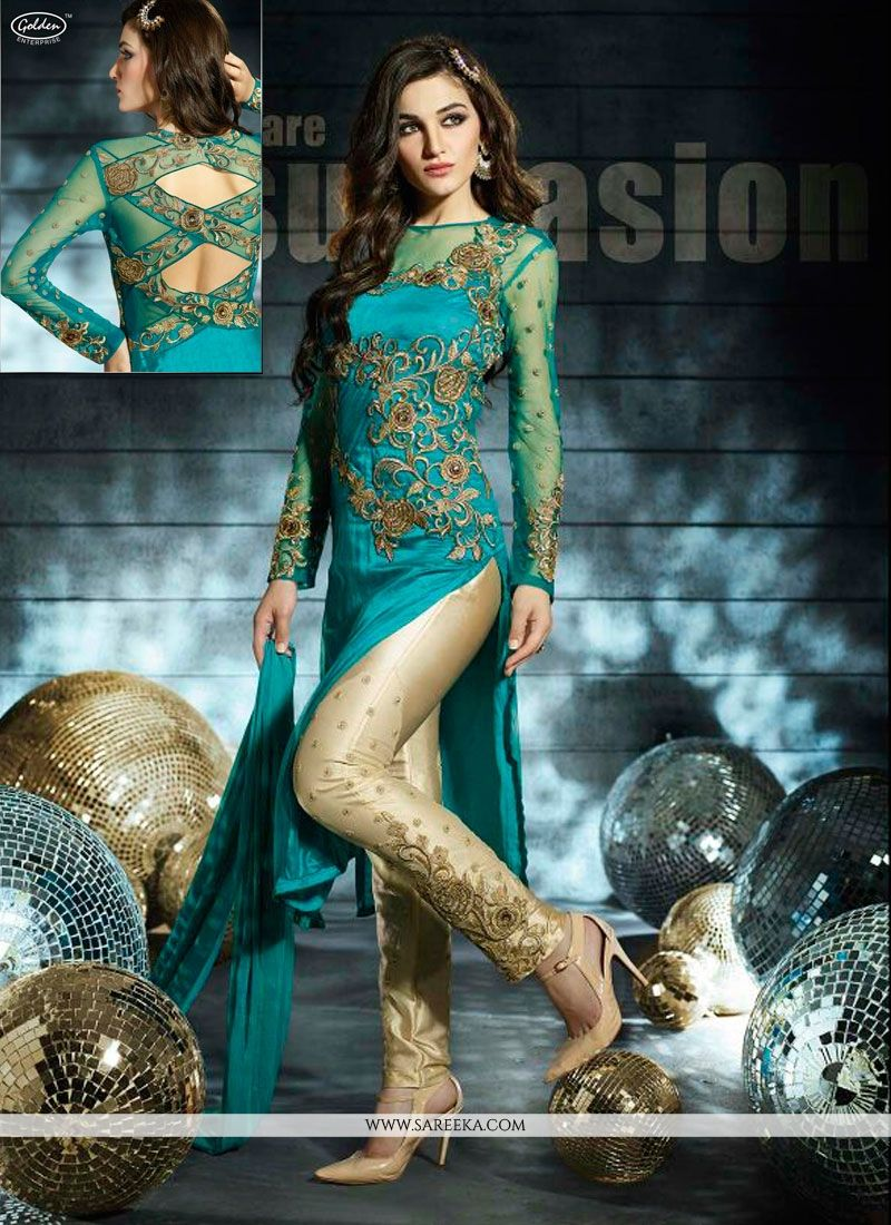 Teal Green Net Designer Pant Style Suit -