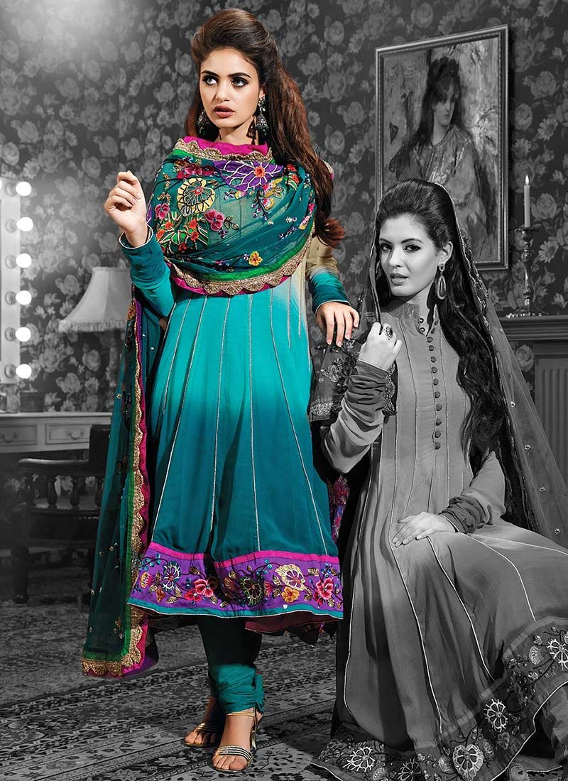 Teal Shaded Georgette Churidar Suit