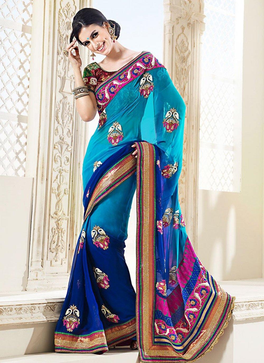 Blue Pure Wedding Saree