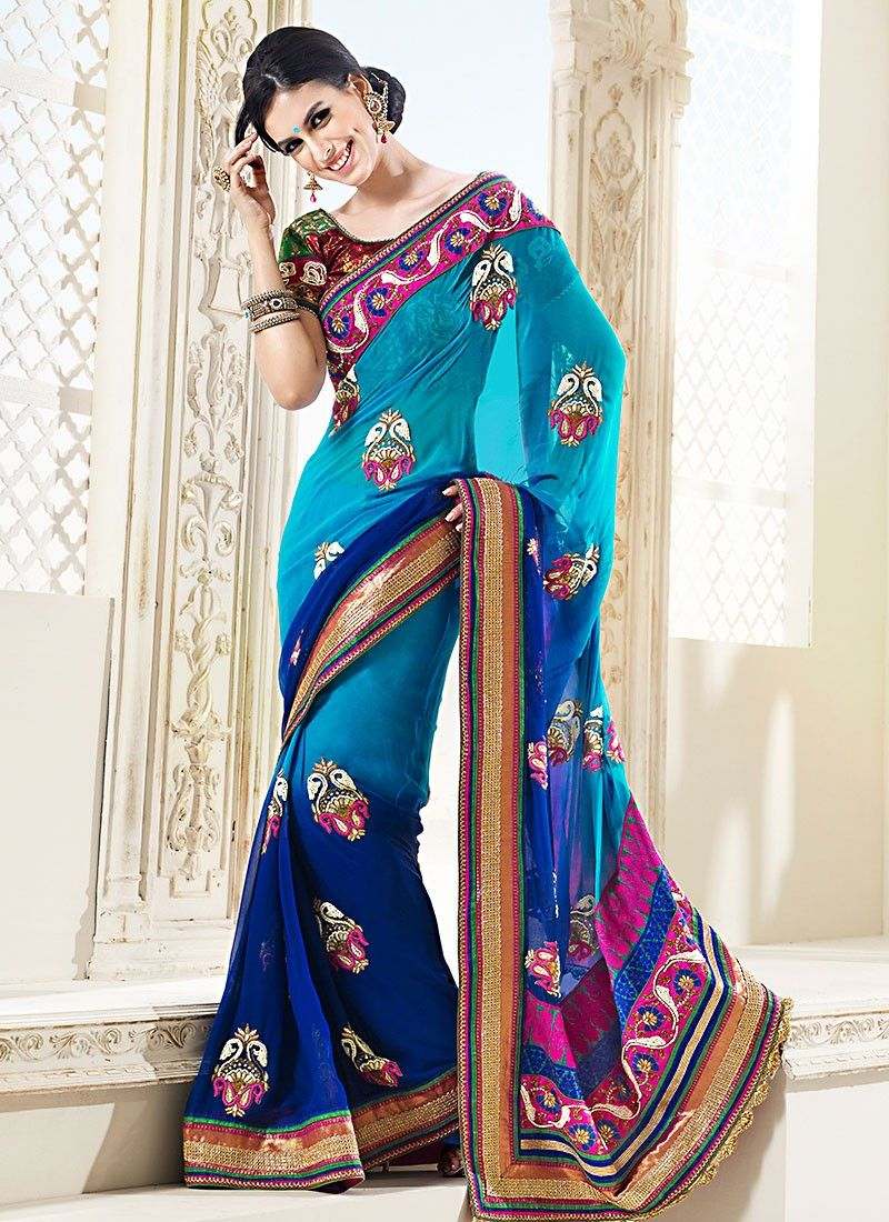 Blue Pure Wedding Saree