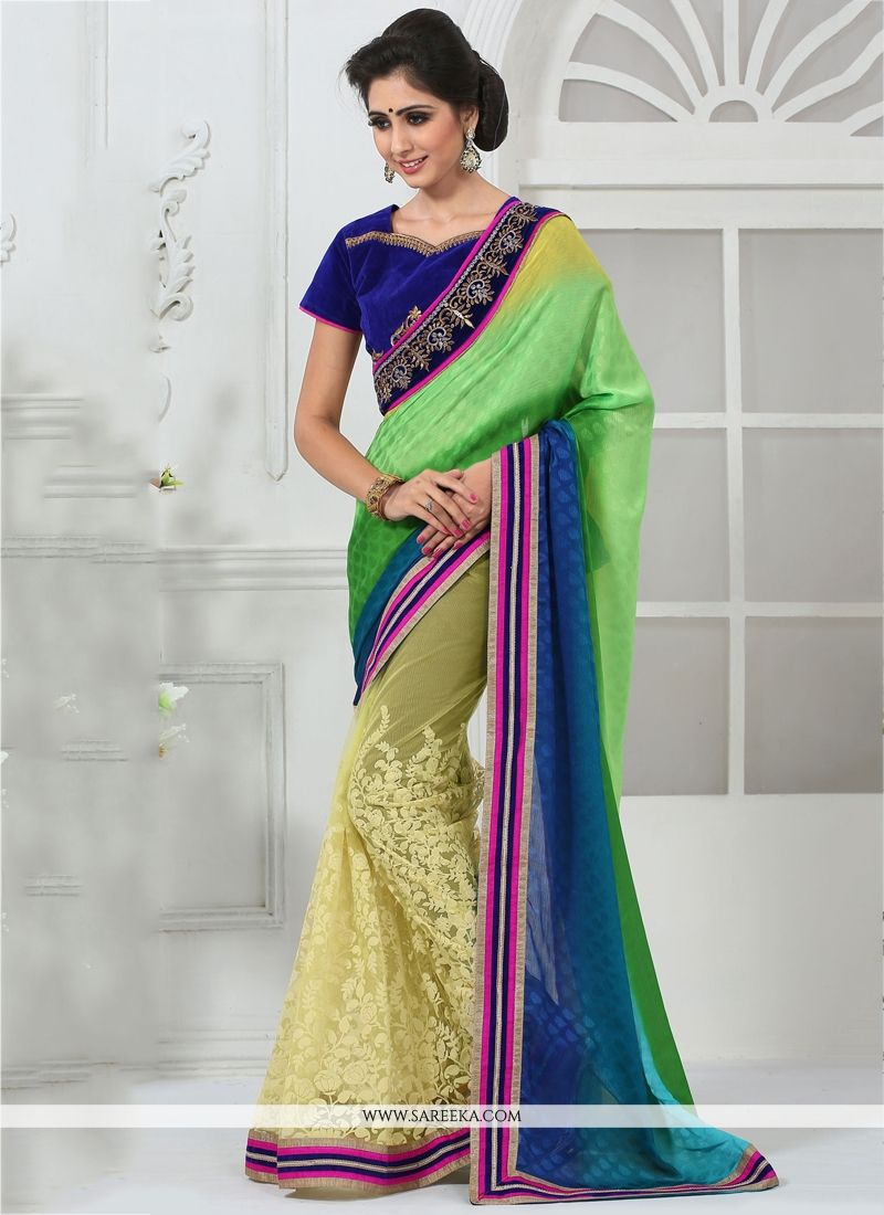 Cream and Green Resham Work Faux Chiffon Designer Saree