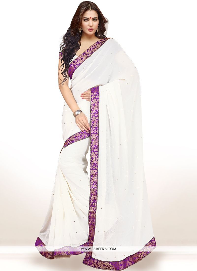 Faux Chiffon White Casual Saree