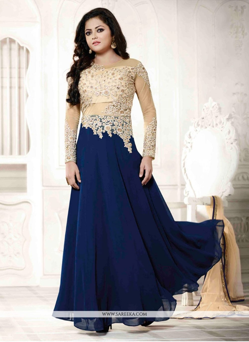 Georgette Blue Embroidered Work Anarkali Salwar Kameez